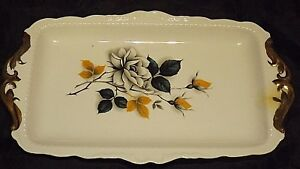 Hansel-Village-Long-China-Sandwich-Plate-White-Rose-Design