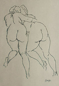 George-Grosz-signed-original-INK-drawing-on-parchment-paper-039-zwei-Akten-039-1937
