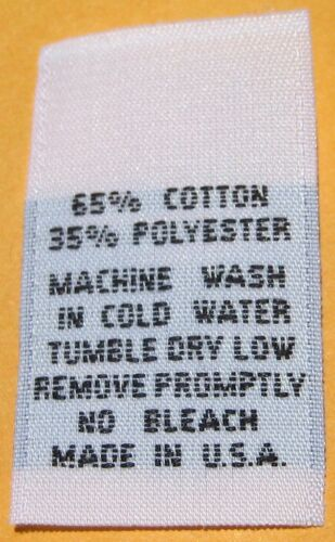 65/% COTTON CARE LABEL 35/% POLYESTER 250 PCS WHITE WOVEN LABELS