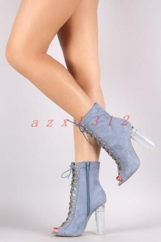 New Womens Denim Block High Heel shoes Open Toe Lace up Ankle Sandals Boots Size