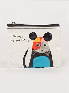 Barely Squeaking Coin Purse  Blue Q Small Wallet Card Holder Funny Quirky Gifts
