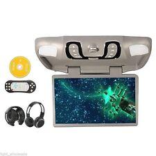 "Gray 15.6""inch Roof Mount Car DVD Player FM TV Transmitter Game FREE 2xHeadphone"