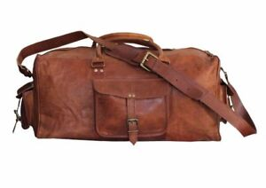 e298c27f2b Image is loading Vintage-Leather-Duffle-Bag-Sports-Gym-Travel-Overnight-