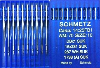 SCHMETZ DBX1 SUK CANU:14:25FB1 NM:70 SIZE:10 INDUSTRIAL SEWING MACHINE NEEDLES