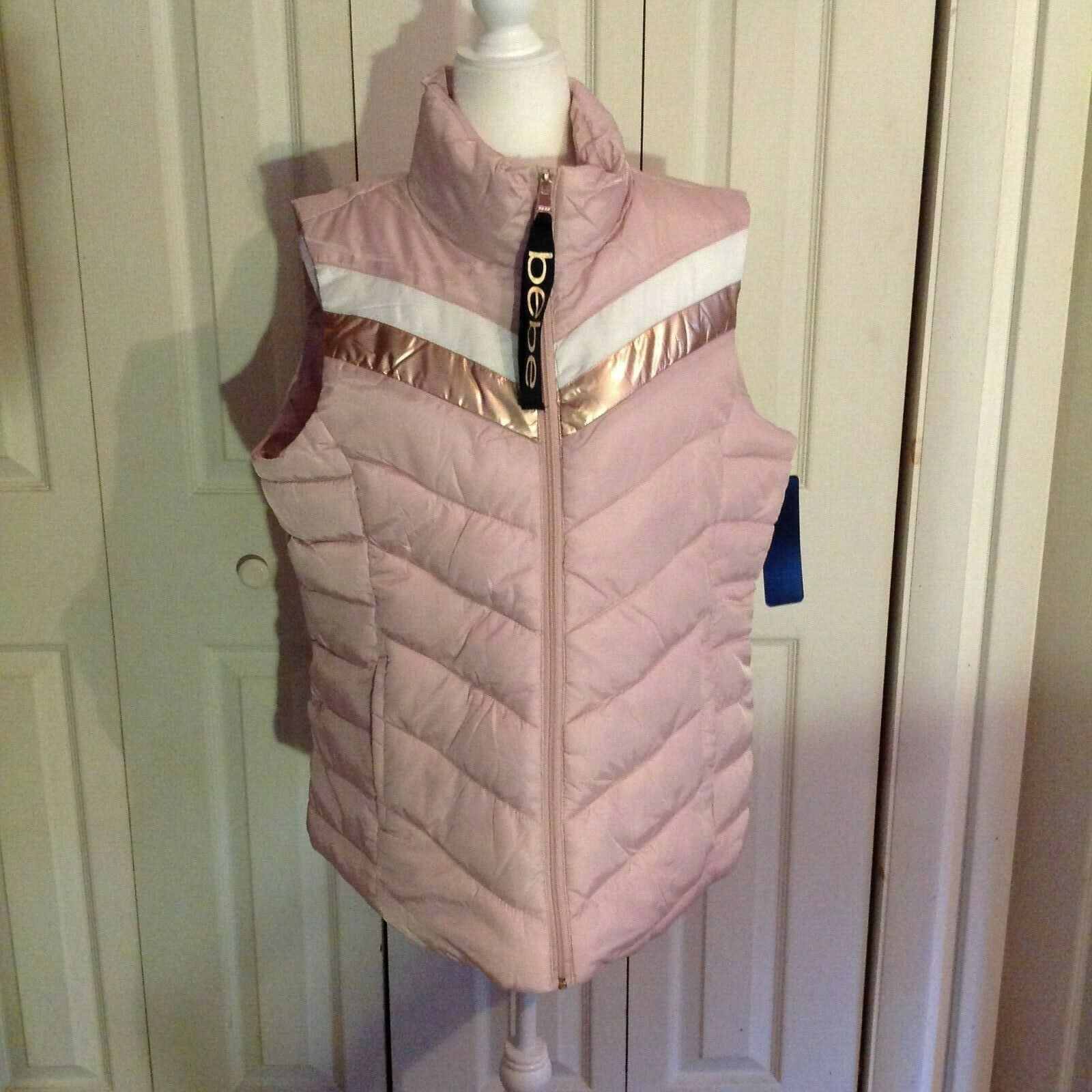 bebe Pink with Gold and White Accent Puffer Vest. New With Tickets. Size Large