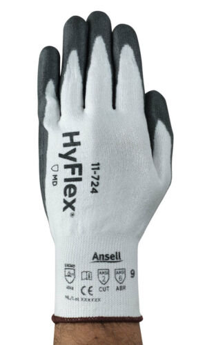 12 X Paires ANSELL Hyflex 11-724 Coupe Résistant Grip Sécurité Travail Gants Protection