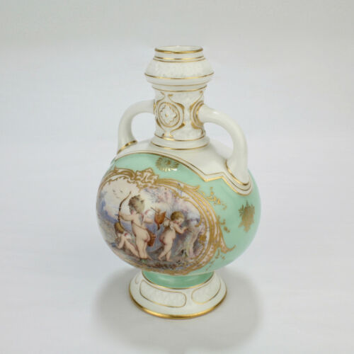Antique Diminutive Aesthetic Period Royal Worcester Vase with Cherubs PC