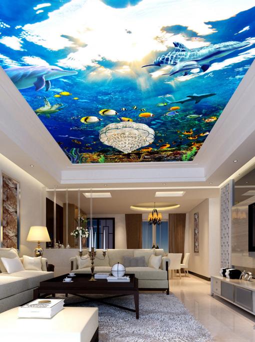 3D Sun Dolphin Sea 9 Ceiling WallPaper Murals Wall Print Decal Deco AJ WALLPAPER