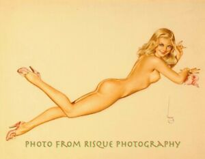 "Nude Woman With Seashell 8.5x11"" Photo Print, Alberto Vargas Naked Pin-up Art"