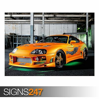 Photo Poster Print Art * All Sizes ORANGE TOYOTA SUPRA NEON AA500 CAR POSTER