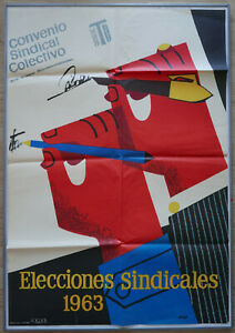 Trade Union poster SPAIN 1963 historic SINDICATOS Franquismo art by BORT LOVELY!