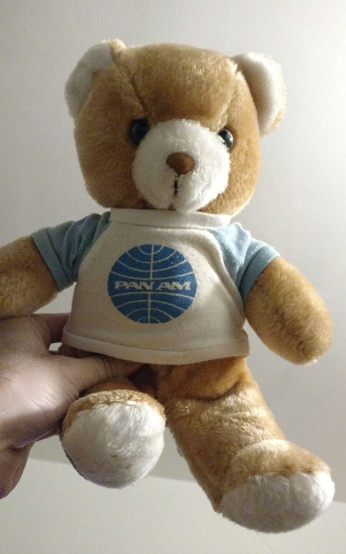 12  PAN AM TEDDY BEAR AIRLINE PLUSH STUFFED ANIMAL VINTAGE PILOT DOLL
