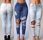 Sexy Women Denim Skinny Pants High Waist Stretch Jeans Slim Pencil Trousers Blue