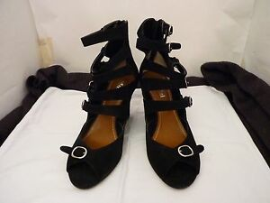 MOLLINI-SUEDE-LEATHER-BLACK-COLOUR-STRAP-WEDGE-HEEL-SHOES-NEW-SIZE-9