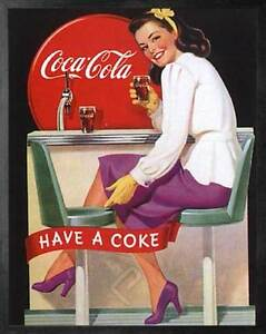 Image Is Loading Coca Cola Have A Coke Framed Vintage 50s