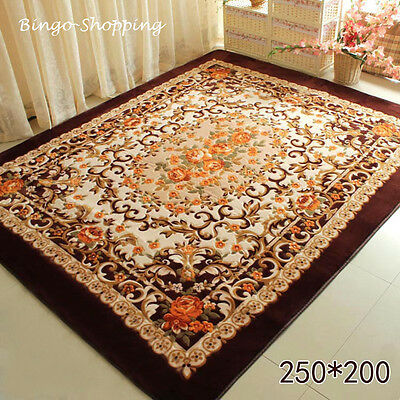 French Victoria Rose Floral Living Room Bedroom Floor Mat Rug Carpet Brown