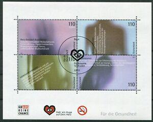 Bund-Block-54-gestempelt-ESST-Bonn-BRD-2200-2203-Fuer-die-Gesundheit-2001-used