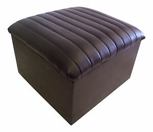Image Is Loading Large Quilted Top Faux Leather Storage Box Pouffe