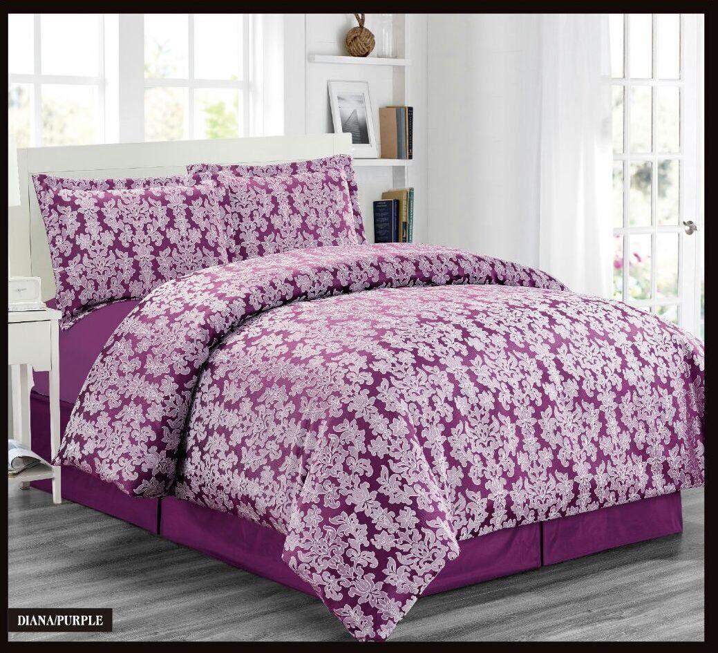 Luxury Purple Bed Set Duvet Quilt Cover Pillowcases & Valance Sheet Double Size