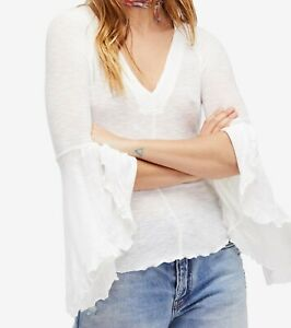 Free-People-Women-So-Dramatic-Top-Ivory-Small-S-Knit-Bell-Sleeve-V-Neck-68-006