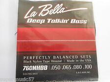 LA BELLA 760NHBB BLACK NYLON TAPE WOUND BASS STRINGS HOFNER BEATLE BASS 50 - 100