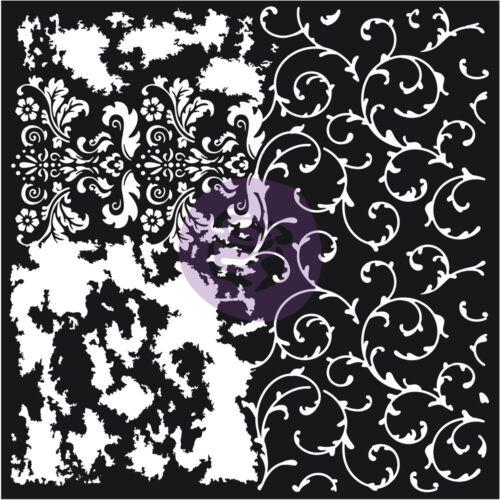 """Prima Re-design Mixed Media Decor Stencil 22/""""x22/""""-distressed Flourish"""