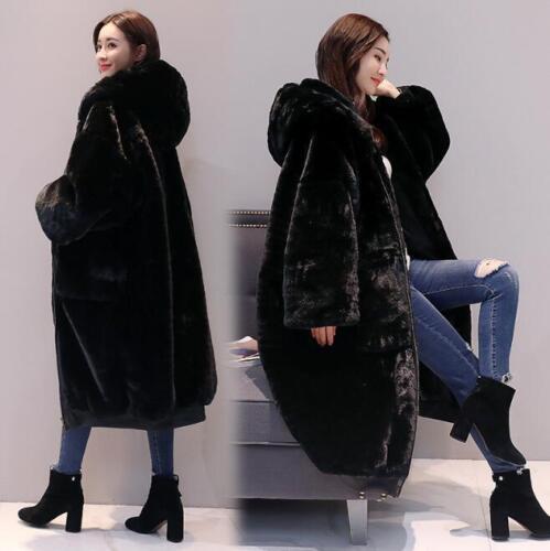 Løst langt jakke kaninbukse udstødt Vintertæt Voguecoat Kvindehætte varmt HSPgwqg