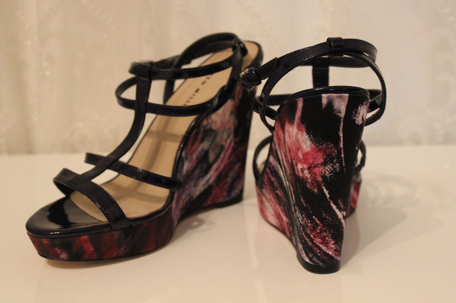 Karen Millen FN091 tropical apilados Cuña Sandalias De Tiras Púrpura Zapatos