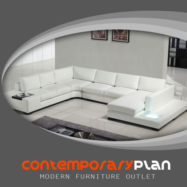 Enjoyable Contemporary White Topleather Sectional Sofa With Built In Light Table Headrest Lamtechconsult Wood Chair Design Ideas Lamtechconsultcom