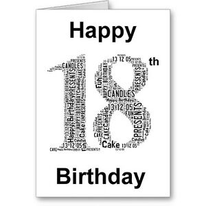 Image Is Loading Personalised Printed Typographic Eighteen 18th Birthday Card Gift