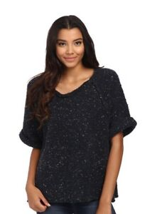 NWT-148-Free-People-Tweed-Knit-Sweater-Top-Pullover-Charcoal-Midnight-XS-S-M