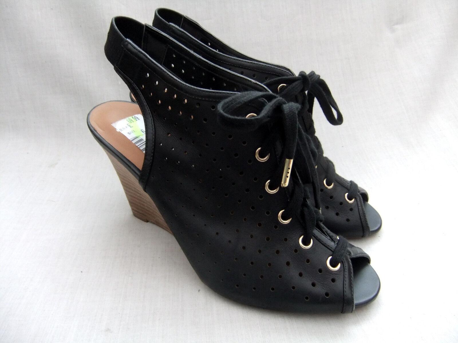New Clarks Softwear Christine de ski pour femme en cuir noir Compensé Sandales 6 39.5