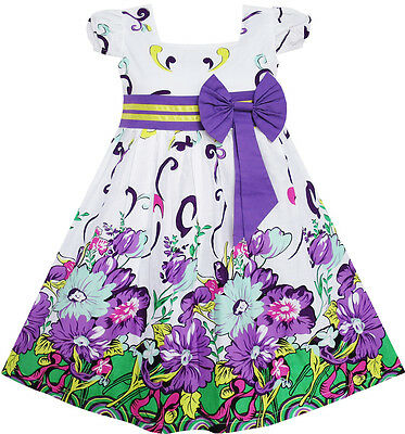 Sunny Fashion Girls Dress Bow Tie Purple Floral Sleeve Princess Party 2-10