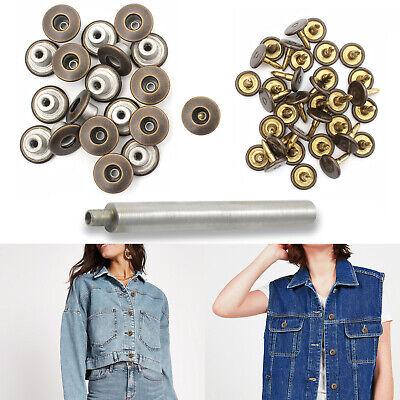 10pcs 17mm Bronzo Jeans Bottoni Fai da te con lo strumento di fissaggio a mano per Denim Giacche Cappotto