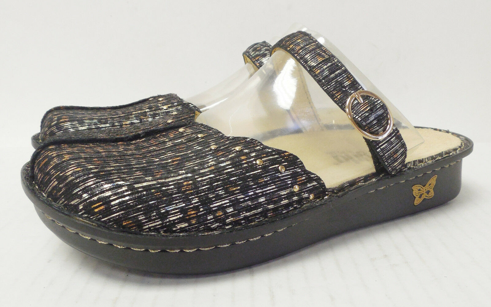 D494 New Women's Alegria Tuscany Leopard Stripe Sandal US 5 5.5  W