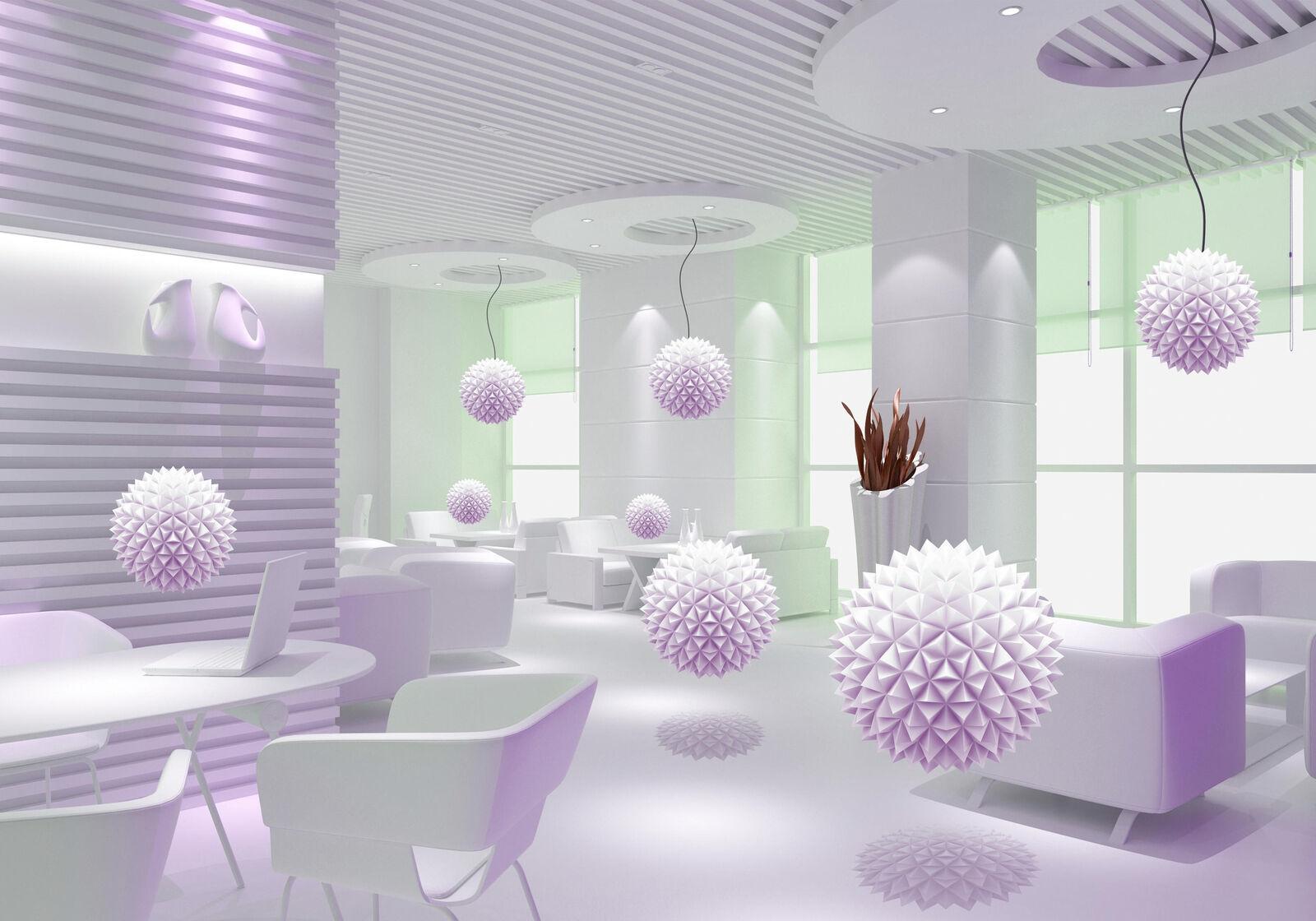 Fototapete viollet Raumerweiterung Kugeln 3D Raum Möbel Fenster Lampen
