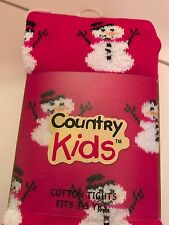 Girls Tights Country Kids Snowmen Christmas Red Snowman Size 3-5 YRS