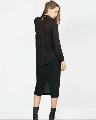 Guipure Schwarz Nero Hakel Bluse Crochet Lace Donna 36 Zara S wAYq5xF