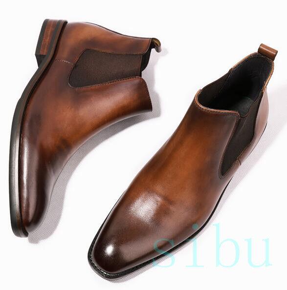 Para hombres Cuero Genuino Tobillo botas de vaquero occidental británica Chelsea Retro De Negocios