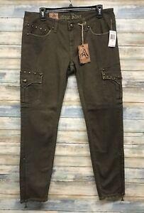 Antique-Rivet-Jeans-26-x-30-Women-Army-Skinny-Leg-Stretch-I-85-86-87