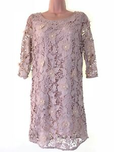 Next Applique Size £80 Floral Leave Beige Shift Bnwt Dress 8 Beaded Nude Petites Xvnd7Uq