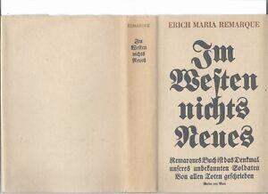 Remarque-Erich-Maria-Im-Westen-nichts-Neues-Erstausgabe-1929-mit-Schutzumschla