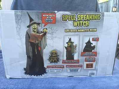 """Halloween LifeSize Animated SPELL-SPEAKING WITCH 5'8"""" Tall Prop Haunted House"""