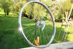 Vintage-Schwinn-1960s-26-inch-Chrome-S-7-Rear-Wheel-with-Bendix-Coaster-Brake