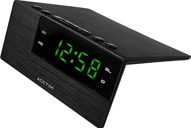 Acctim Adaven LED Alarm Clock Modern Bedroom Table Desk Display Snooze  Black USB