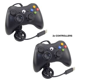 BOXED-2-X-BLACK-BRAND-NEW-USB-WIRED-CONTROLLER-FOR-XBOX-360-PC-WINDOWS