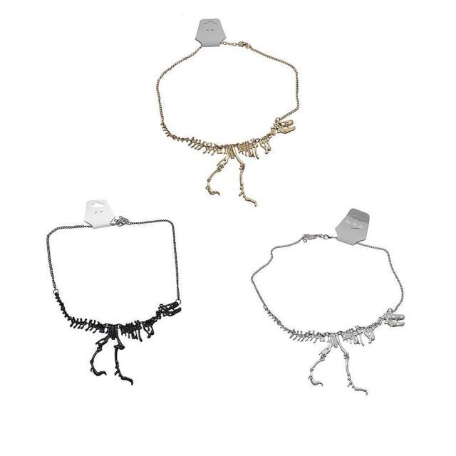 Chic Women Jewelry Stylish Alloy Dinosaur Fossil Skeleton Bone Chain Necklace