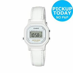 Casio-Ladies-039-Mini-White-Leather-Strap-Digital-Watch