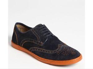 1f176c1ea5bf Men HUSH PUPPY Carver Navy Blue Suede Oxford Wingtip Shoes Sz 10 EUC ...
