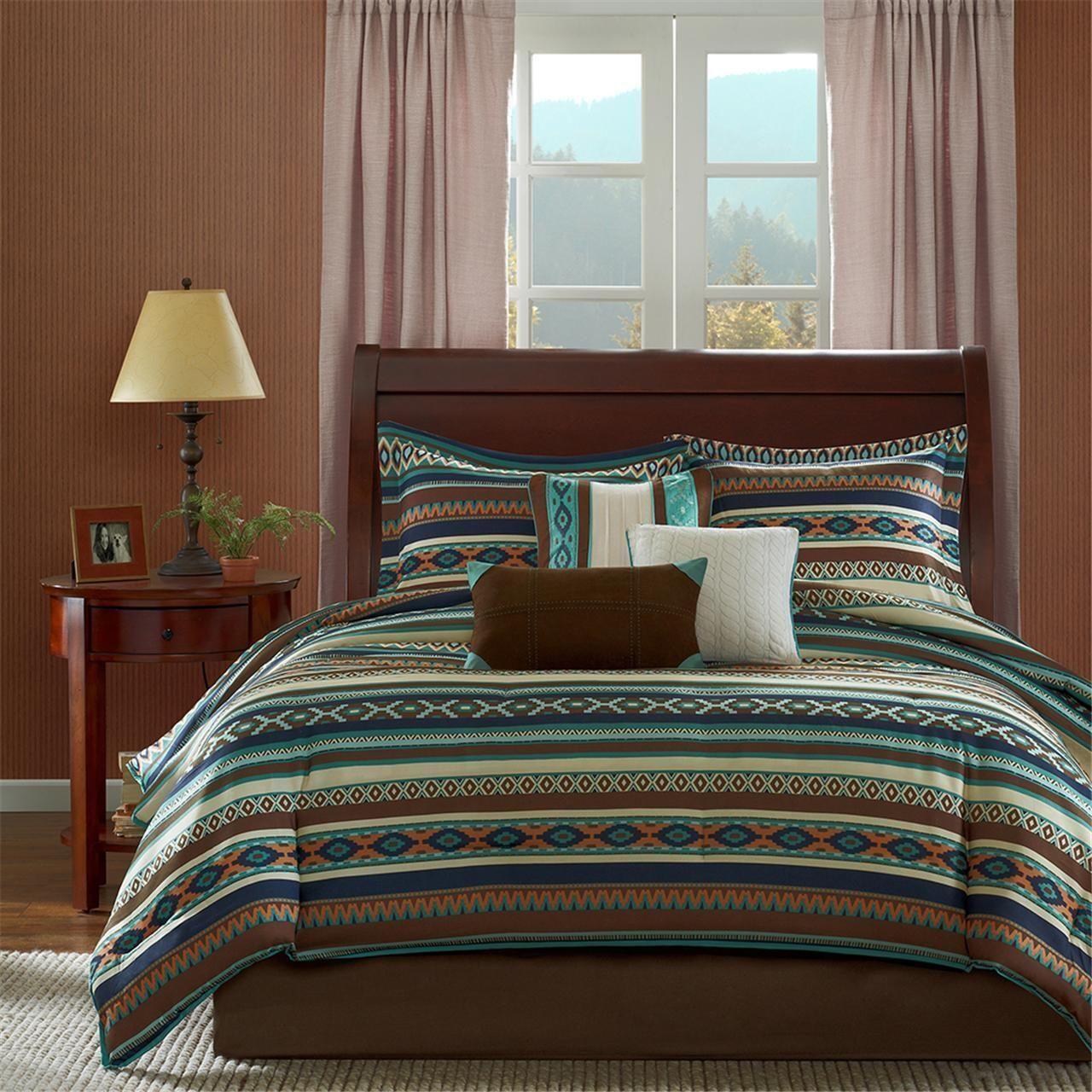 BEAUTIFUL COZY LODGE CABIN RUSTIC Blau braun COUNTRY STRIPE COMFORTER SET NEW